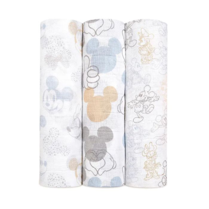 Aden and Anais muslin swaddles featuring pastel Mickey and Minnie prints