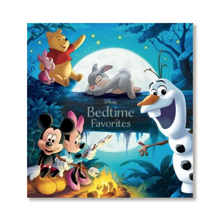Cover of Disney Bedtime Favorites storybook featuring Pooh, Piglet, Olaf, Thumper, and Mickey and Minnie Mouse
