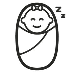 graphic depicting sleeping baby - I read all the baby sleep books so you don't have to