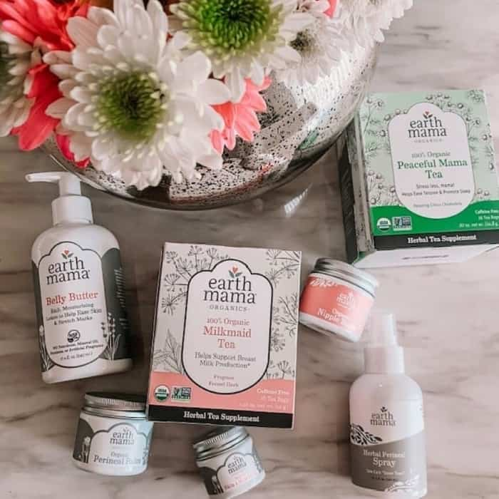 collection of Earth Mama products