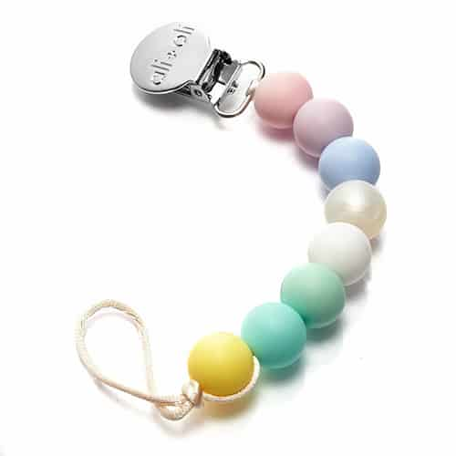 silicone pacifier clip in pastel colors