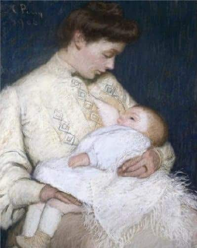 Nursing the Baby, Lilla Cabot Perry, c. 1906. Pastel on paper