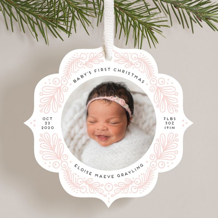baby's first Christmas Birth Announcement Holiday ornament card