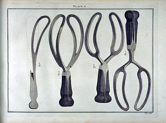 Old drawing of types of forceps