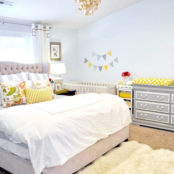 cute nursery nook in master bedroom with yellow themecute nursery nook in master bedroom with yellow theme