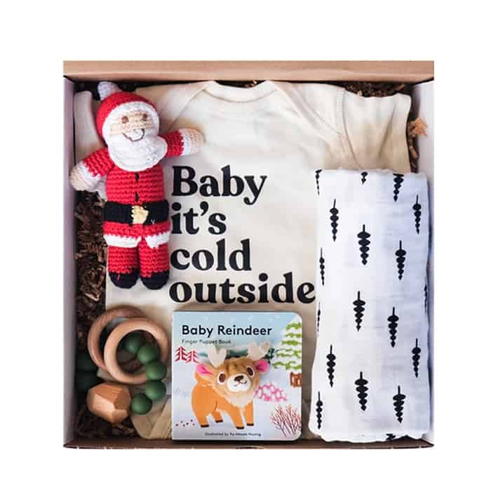Christmas gift box with onesie, swaddle, board book, teether, santa doll