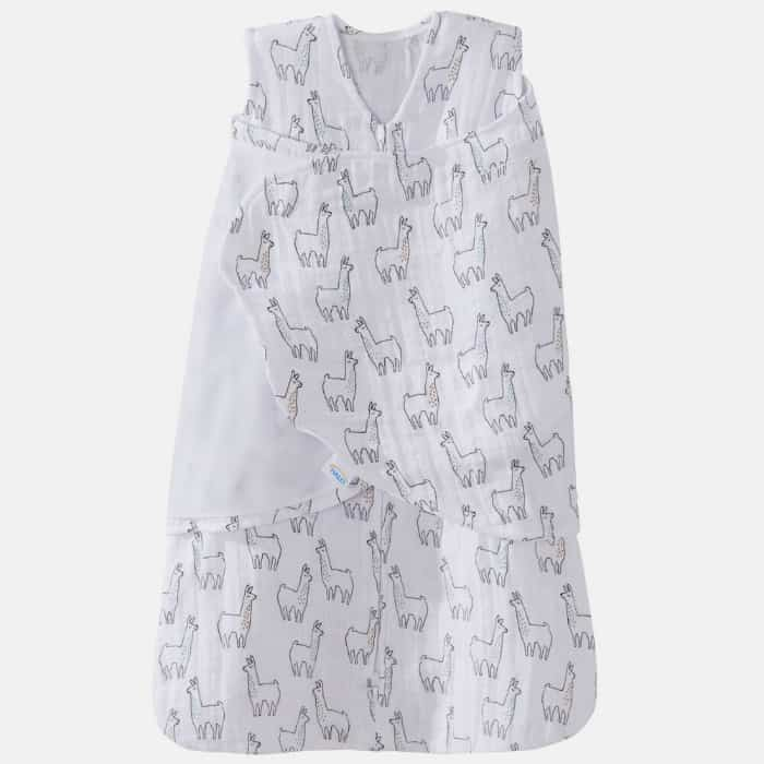 Halo muslin sleep sack with llama print