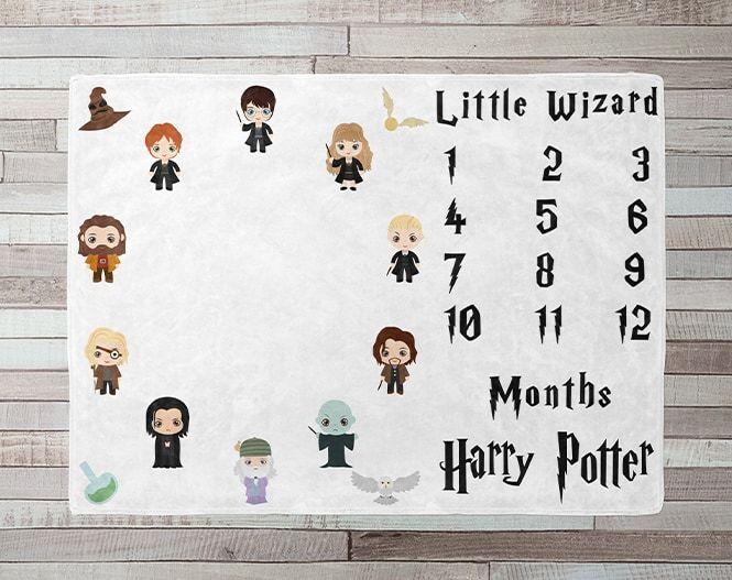 Little wizard milestone blanket