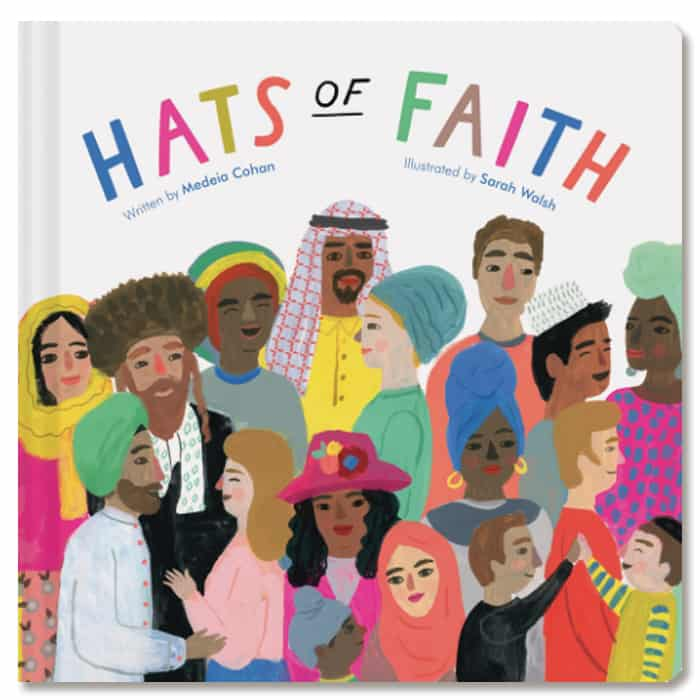 Cover of board book Hats of Faith as example of unique board book to help build baby's first library