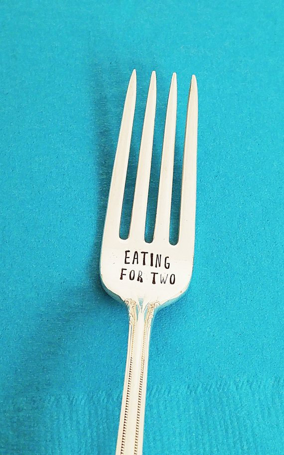 Gifts for Pregnant Women: Eating for Two Fork Pregnancy Gift Idea