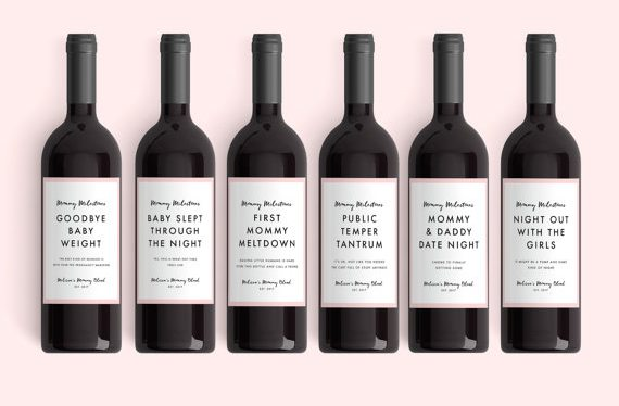 Best gifts for a pregnant friend: new mom wine labels
