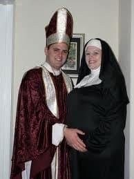 Priest and pregnant nun halloween costume