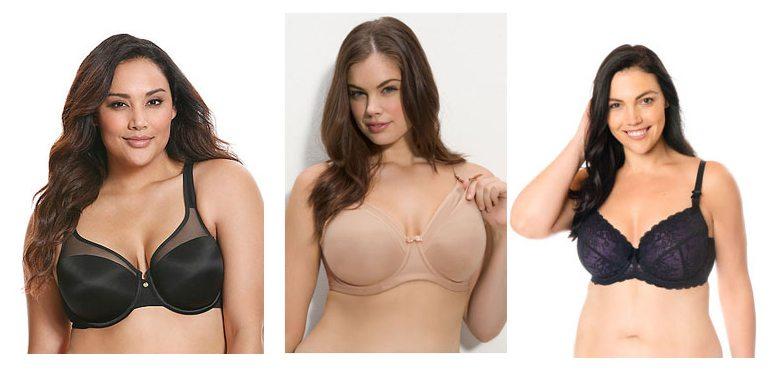 Three models wearing nursing bras in larger sizes