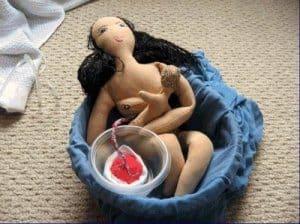 water birth birthing doll