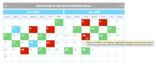 sample meal baby registry calendar