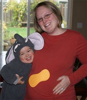 Elephant costume toddler with peanut belly pregnant mom