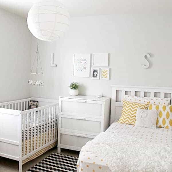 white nursery bedroom combo with yellow accentswhite nursery bedroom combo with yellow accents