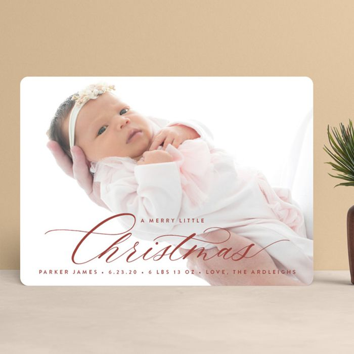 a merry little christmas card with baby girl Birth Announcement Holiday Card