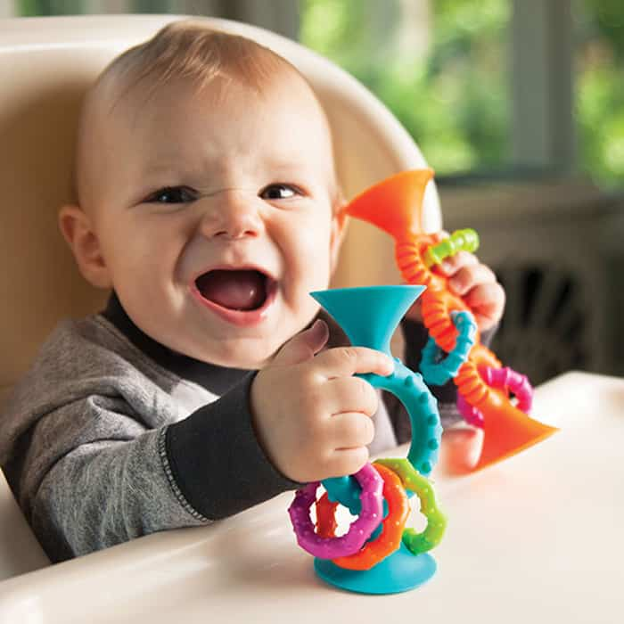 baby playing with loops