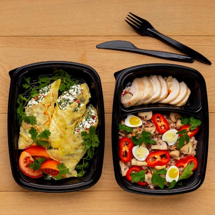 food delivery in take out containers as a baby shower gift