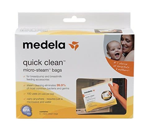 Quick-clean micro steam bags for baby formula gear