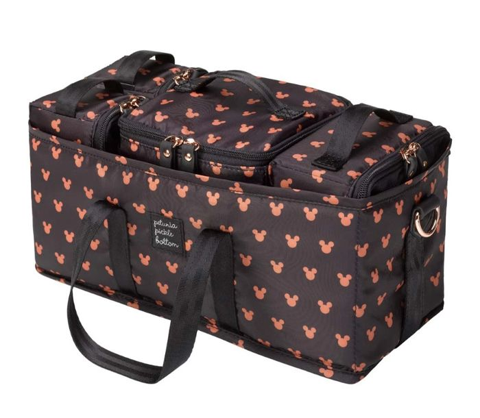Black rectangular diaper organizer featuring salmon pink Mickey Mouse heads by Petunia Picklebottom