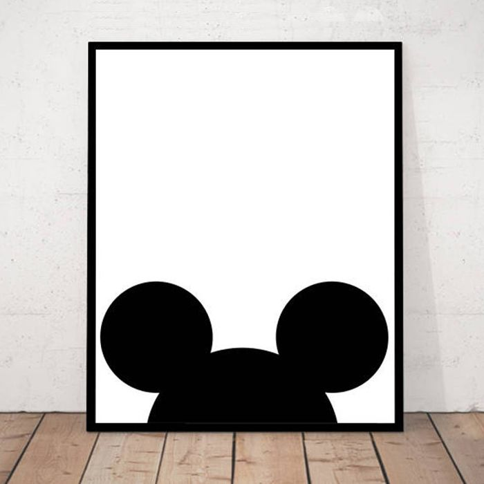 White poster featuring the top half of Mickey Mouses head and ears.