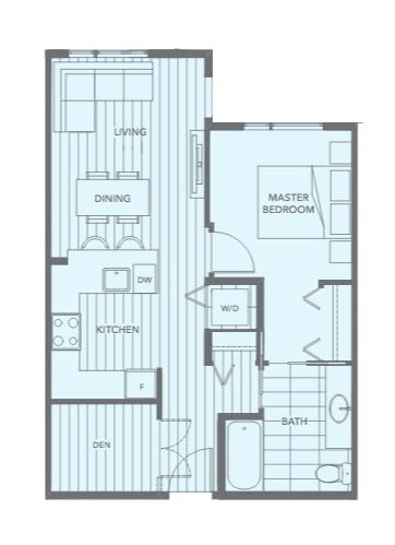 apartment layout: 617 sq ft