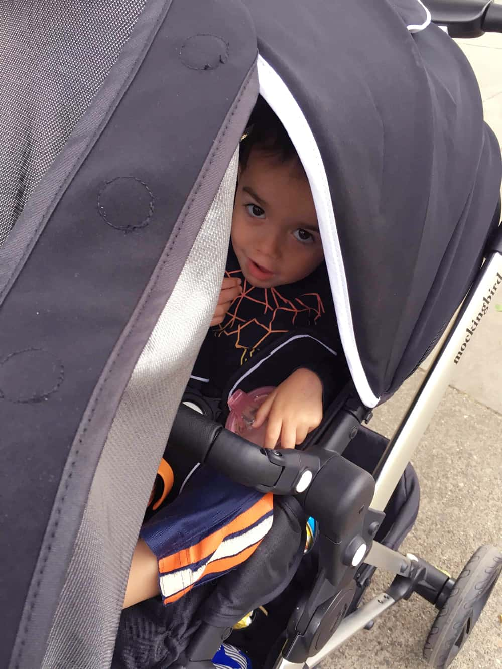 baby peeking out of the stroller canopy