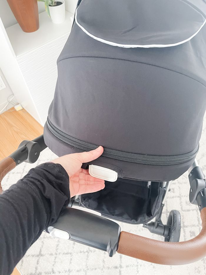 Showing the one handed recline feature