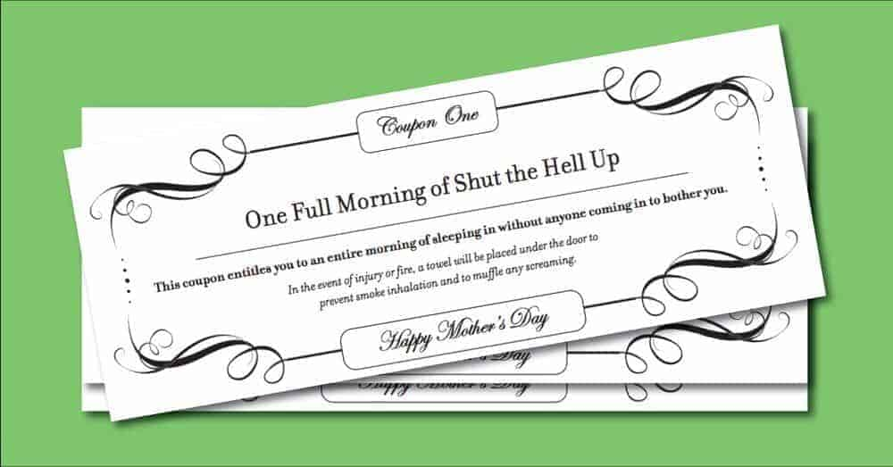 Funny printable mothers day coupons from Pregnant Chicken.