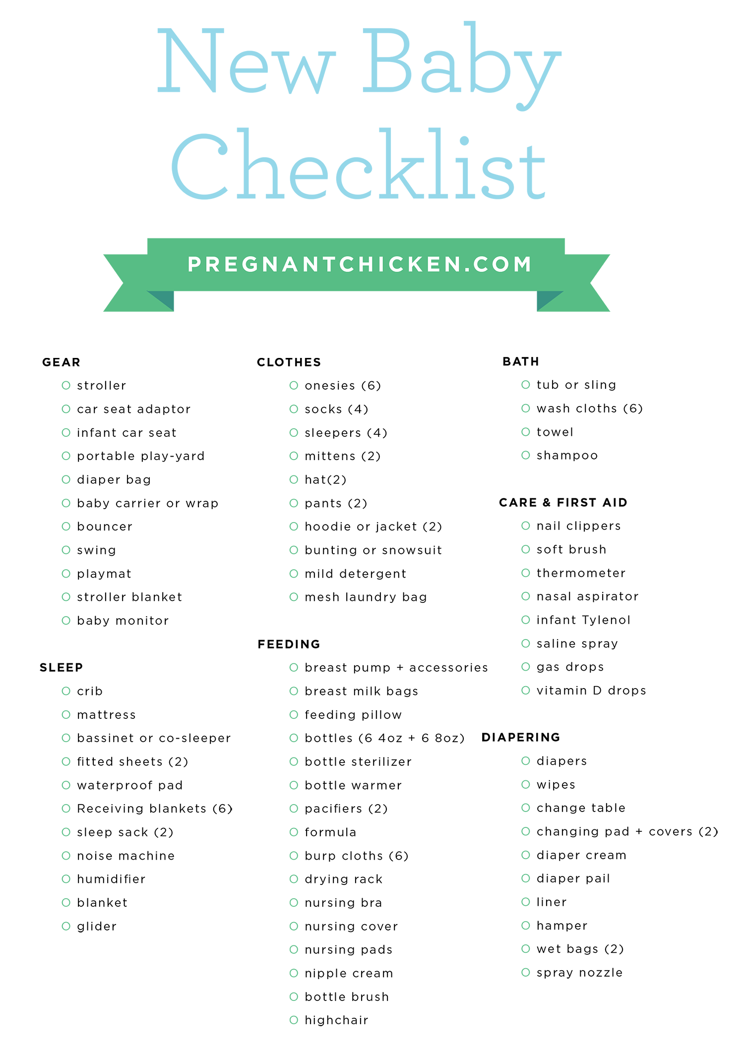 Baby Registry Checklist Pdf - a complete checklist of all the essential items you'll need to prepare for a baby - it even includes newborn gear guides and suggestions to fit every budget!