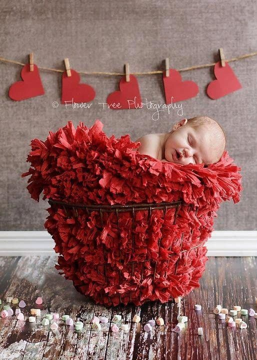 Newborn sleeping in red fluffy blanket in a basket with heart decor in the background