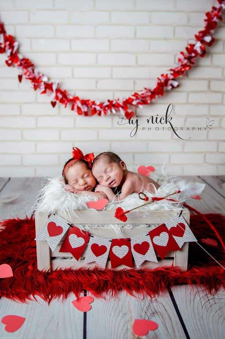 Twins sleeping in white box decorated with hearts Baby's First Valentine's Day Photo shoot