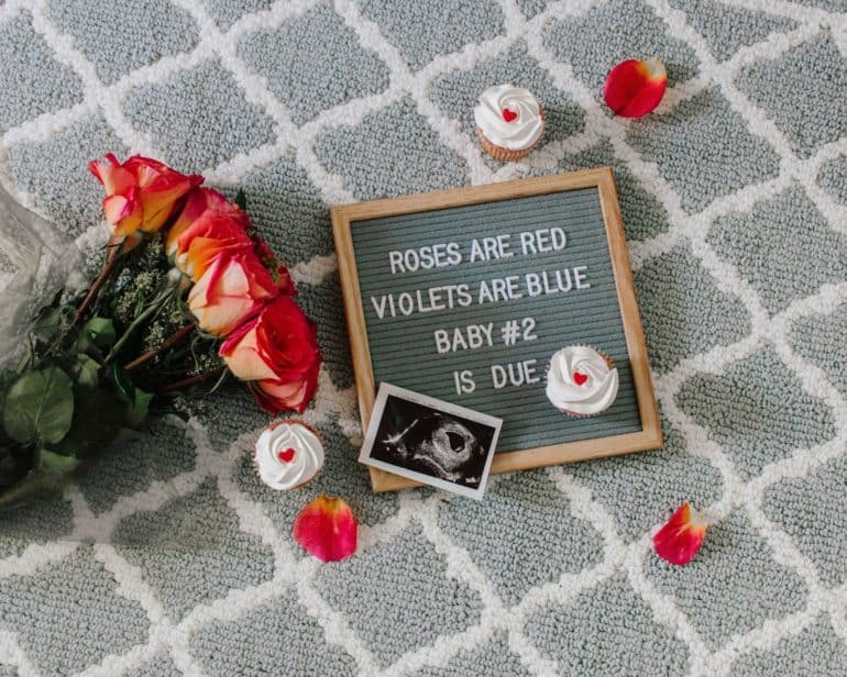 Valentines themed pregnancy announcement