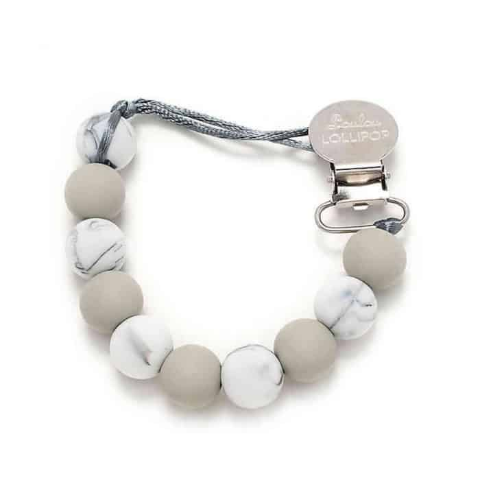 gray and marble pacifier clip