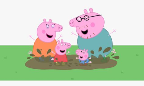 Peppa pig and her family playing in mud