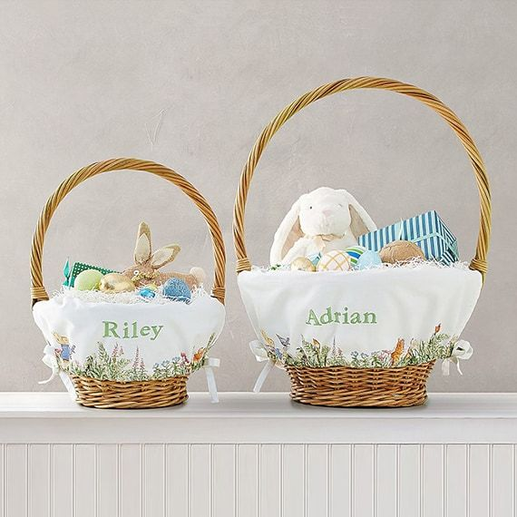 personalized easter baskets peter rabbit theme