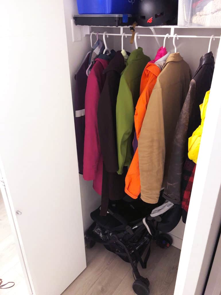 stroller folded up in closet - after I picked the wrong stroller