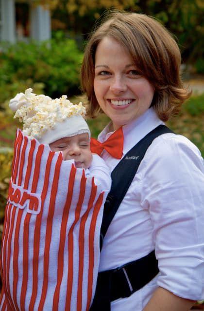 DIY popcorn carrier baby halloween costume