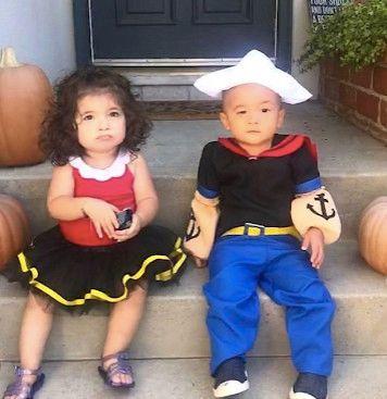 siblings dressed as popeye and olive oil