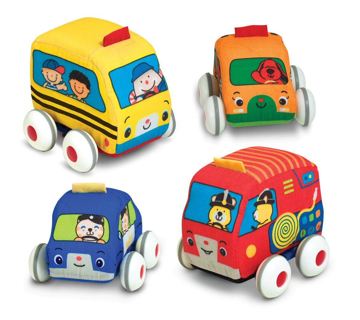 four soft pull back cars