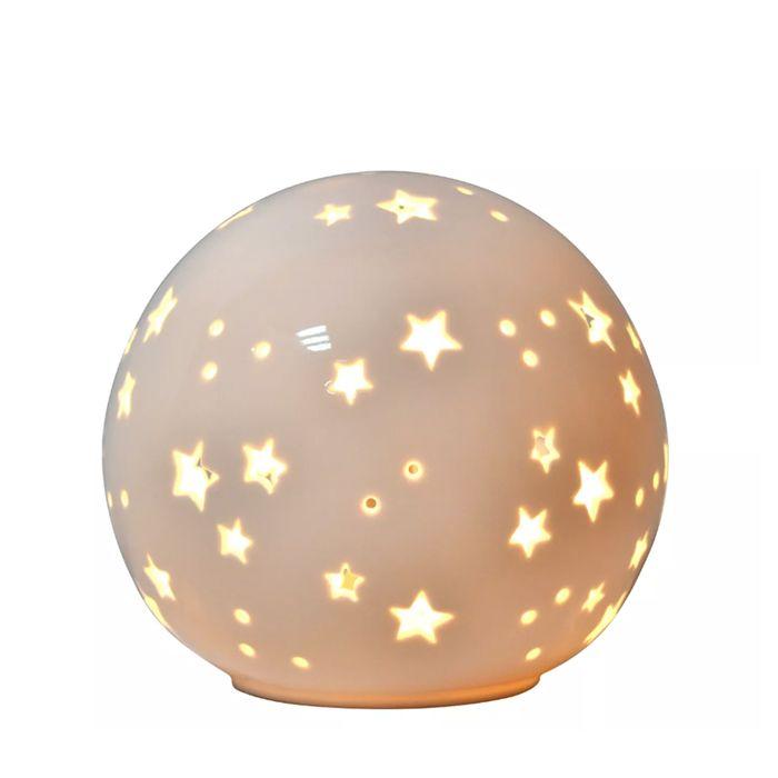 Porcelain white starry globe nightlight for nursery