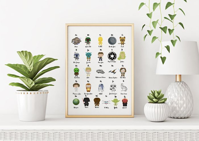 Star Wars alphabet poster for nursery featuring popular characters