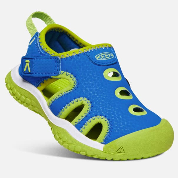 blue and green toddler beach shoes