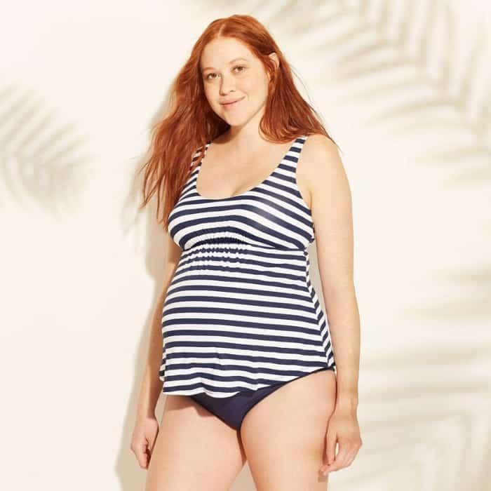 pregnant woman wearing striped tankini