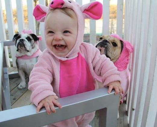 baby dressed as pig for baby halloween costume