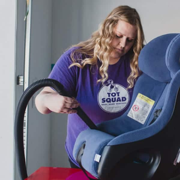 tot squad car seat cleaning installation as a unique baby gift