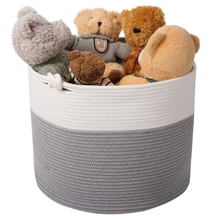 cotton toy bin filled with stuffed bears