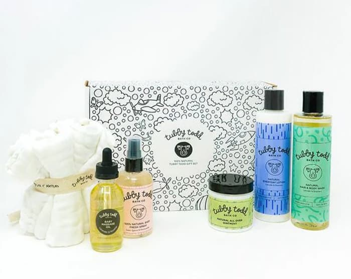 Tubby Todd products Hair & Body Wash, Everyday Lotion, Baby Massage Oil, Baby Fresh Spray, All Over Ointment, Washcloth Set